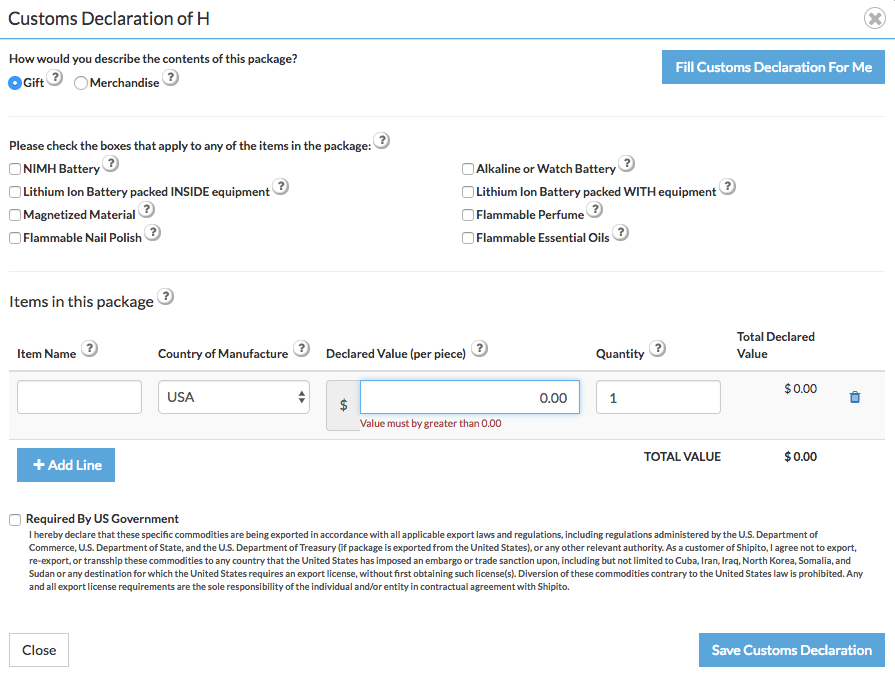 Tutorial v2 customs declaration a new window with the customs declaration form will pop up altavistaventures Choice Image